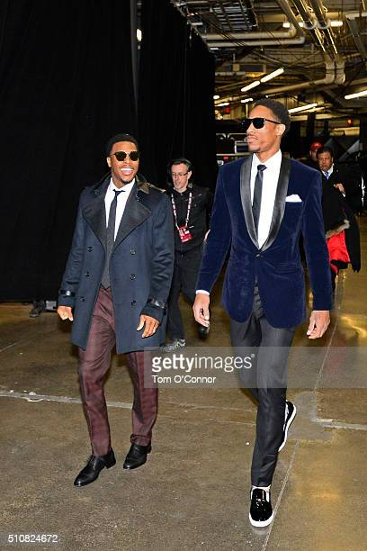Kyle Lowry and DeMar DeRozan of the Eastern Conference arrives before the NBA AllStar Game as part of the 2016 NBA AllStar Weekend on February 14...