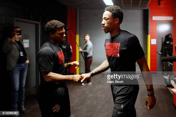 Kyle Lowry and DeMar DeRozan of the Toronto Raptors before the game against the Boston Celtics on February 6 2018 at the Air Canada Centre in Toronto...