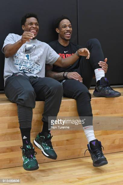 Kyle Lowry and DeMar DeRozan of the Toronto Raptors look on during an open practice at BioSteel Centre Toronto Ontario Canada on February 5 2018 NOTE...