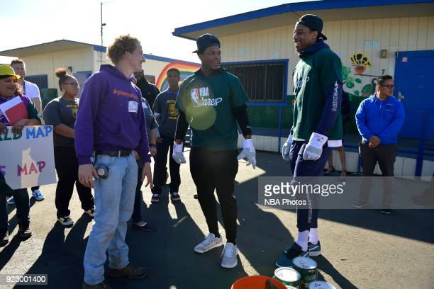 Kyle Lowry and DeMar DeRozan of the Toronto Raptors participate with KaBOOM during NBA Cares AllStar Day of Service as a part of 2018 NBA AllStar...