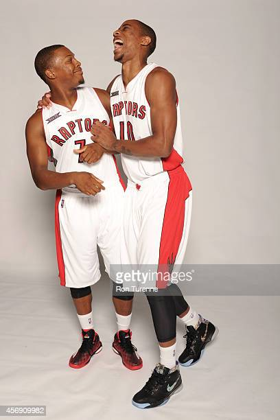 Kyle Lowry and DeMar DeRozan of the Toronto Raptors poes for a photo during Media Day September 29 2014 at the Air Canada Centre in Toronto Ontario...