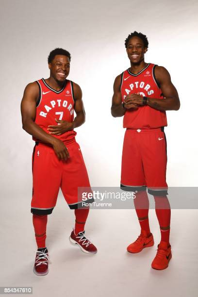 Kyle Lowry and DeMar DeRozan of the Toronto Raptors pose for a portrait during Media Day on September 25 2017 at the BioSteel Centre in Toronto...
