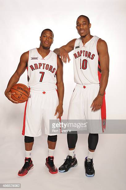 Kyle Lowry and DeMar DeRozan of the Toronto Raptors pose for a photo during Media Day at the Air Canada Centre in Toronto Ontario Canada on September...