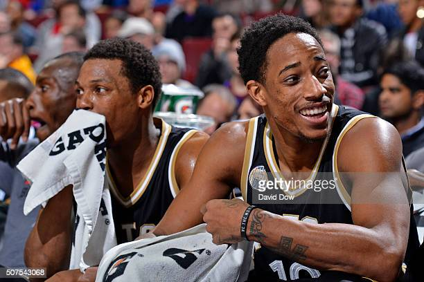 Kyle Lowry and DeMar DeRozan of the Toronto Raptors sit on the bench against the Philadelphia 76ers at the Wells Fargo Center on January 9 2016 in...