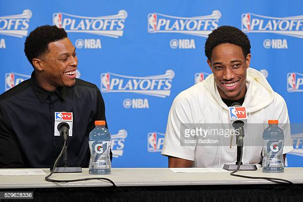 Kyle Lowry and DeMar DeRozan of the Toronto Raptors speak at a press conference after Game Three of the Eastern Conference Semifinals against the...