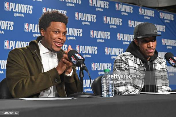 Kyle Lowry and DeMar DeRozan of the Toronto Raptors speak to the media after the game against the Washington Wizards in Game Two of Round One of the...