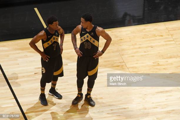 Kyle Lowry and DeMar DeRozan of the Toronto Raptors talk during the game against the Utah Jazz on January 26 2018 at the Air Canada Centre in Toronto...