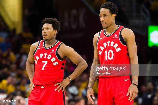 Kyle Lowry and DeMar DeRozan of the Toronto Raptors wait for a freethrow during the second half of Game 4 of the second round of the Eastern...
