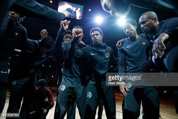 Kyle Lowry and DeMar DeRozan of the Toronto Raptors with their teammates huddle before the game against the Los Angeles Lakers on January 28 2018 at...