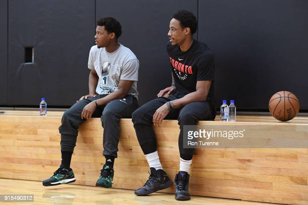 Kyle Lowry and DeMar DeRozan of the Toronto Raptorslook on during an open practice at BioSteel Centre Toronto Ontario Canada on February 5 2018 NOTE...