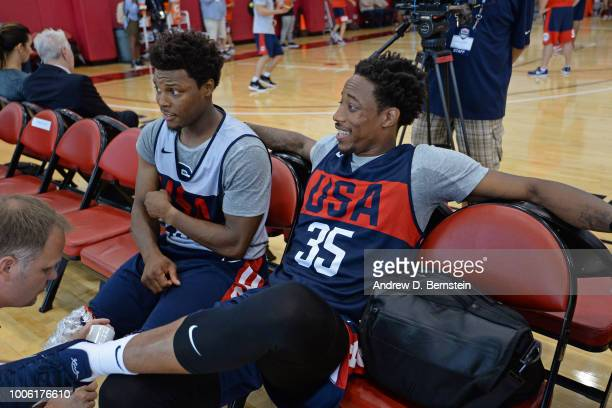 Kyle Lowry and DeMar DeRozan talk during USAB Minicamp Practice at Mendenhall Center on the University of Nevada Las Vegas campus on July 26 2018 in...