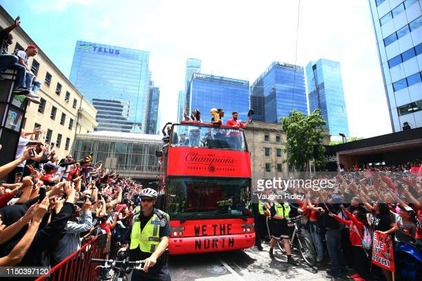 Kyle Lowry and Fred VanVleet of the Toronto Raptors with the championship trophy during the Toronto Raptors Victory Parade on June 17, 2019 in...