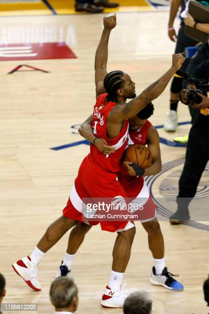 Kyle Lowry and Kawhi Leonard of the Toronto Raptors celebrates his teams win over the Golden State Warriors in Game Six to win the 2019 NBA Finals at...