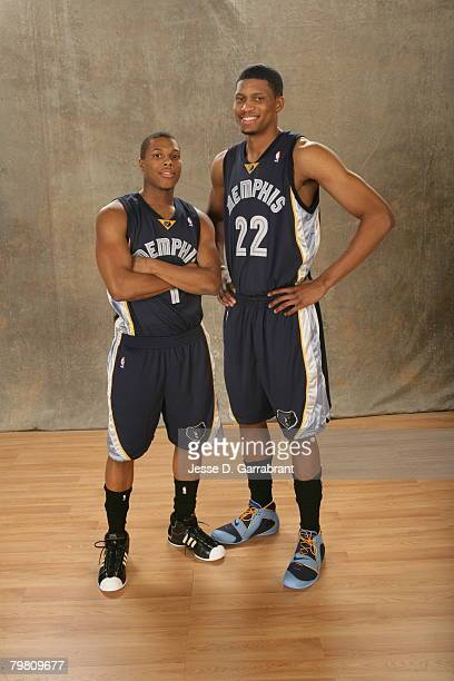 Kyle Lowry and Rudy Gay of the Memphis Grizzlies poses for a portrait during AllStar Saturday Night on February 16 2008 at the New Orleans Arena in...