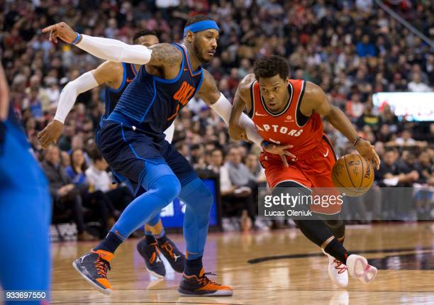 Kyle Lowry drives on Oklahoma's Carmelo Anthony in first half action The Toronto Raptors hosted the Oklahoma City Thunder a the Air Canada Centre...