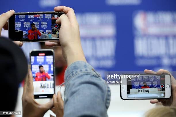 Kyle Lowry of Team Giannis speaks to the media during 2020 NBA AllStar Practice Media Day at Wintrust Arena on February 15 2020 in Chicago Illinois...
