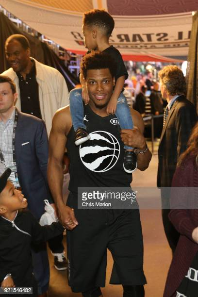 Kyle Lowry of team Stephen holds his son after the NBA AllStar Game as a part of 2018 NBA AllStar Weekend at STAPLES Center on February 18 2018 in...