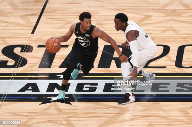 Kyle Lowry of team Stephen is defended by Victor Oladipo of team LeBron during the NBA AllStar Game as a part of 2018 NBA AllStar Weekend at STAPLES...