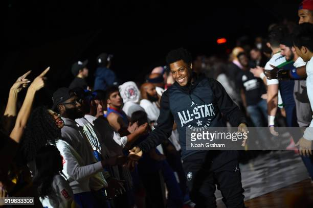 Kyle Lowry of team Stephen is introduced during the 2018 NBA All Star Practice as part of 2018 AllStar Weekend at Verizon Up Arena at LACC on...