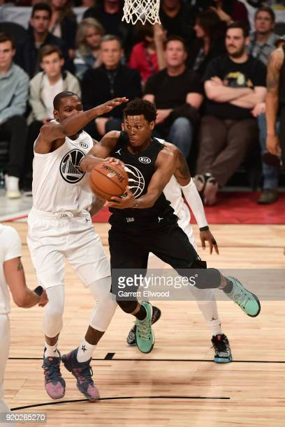 Kyle Lowry of Team Stephen passes the ball against Team LeBron during the NBA AllStar Game as a part of 2018 NBA AllStar Weekend at STAPLES Center on...
