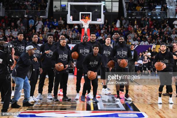 Kyle Lowry of Team Stephen shoots the ball during NBA AllStar Media Day Practice as part of 2018 NBA AllStar Weekend at the Los Angeles Convention...