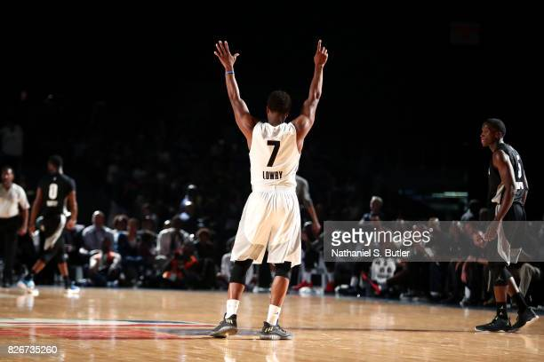 Kyle Lowry of Team World reacts during the game against Team Africa in the 2017 Africa Game as part of the Basketball Without Borders Africa at the...