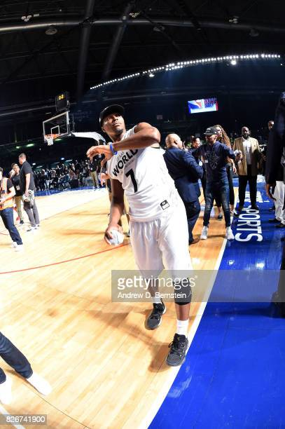 Kyle Lowry of Team World throws a shirt into the crowd after the game in the 2017 Africa Game as part of the Basketball Without Borders Africa at the...