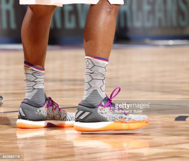 Kyle Lowry of the Eastern Conference AllStars sneakers during the NBA AllStar Game as part of the 2017 NBA All Star Weekend on February 19 2017 at...