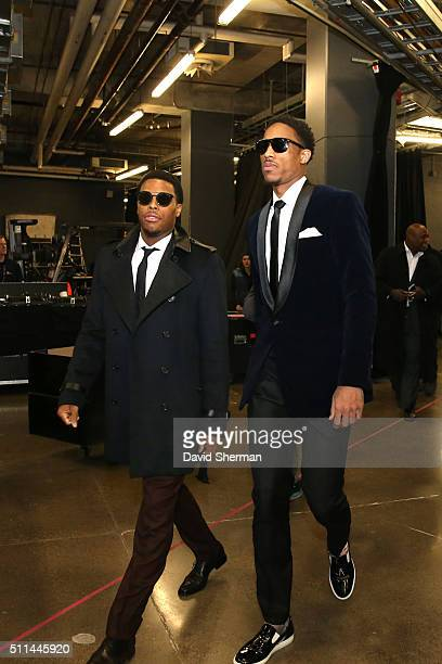 Kyle Lowry of the Eastern Conference and DeMar DeRozan of the Eastern Conference following the NBA AllStar Game as part of the 2016 NBA AllStar...
