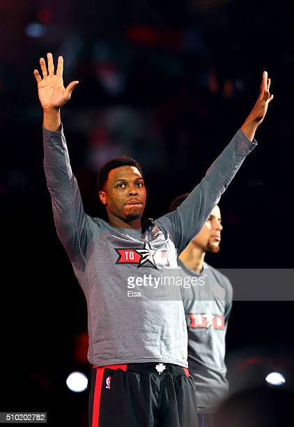 Kyle Lowry of the Portland Trail Blazers is introduced for the Foot Locker ThreePoint Contest during NBA AllStar Weekend 2016 at Air Canada Centre on...