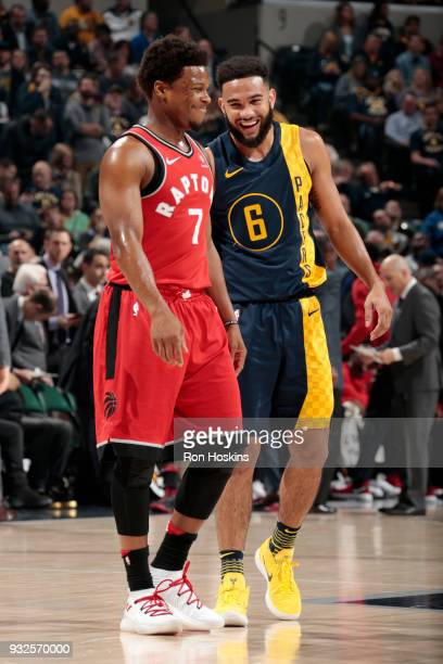 Kyle Lowry of the Toronto Raptors and Cory Joseph of the Indiana Pacers talk during the game on March 15 2018 at Bankers Life Fieldhouse in...