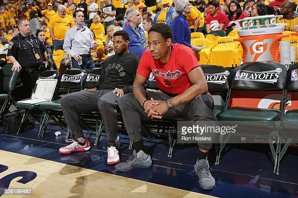 Kyle Lowry of the Toronto Raptors and DeMar DeRozan of the Toronto Raptors are introduced before the game against the Indiana Pacers in Game Six of...