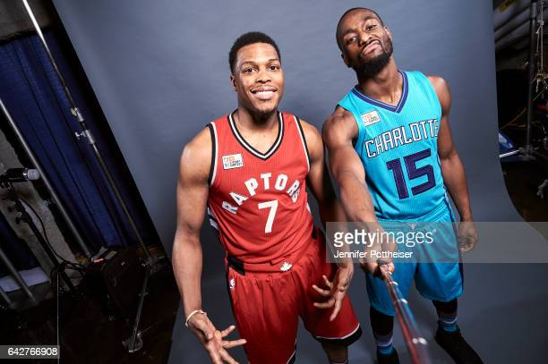 Kyle Lowry of the Toronto Raptors and Kemba Walker of the Charlotte Hornets poses for a portrait during State Farm AllStar Saturday Night as part of...