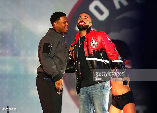 Kyle Lowry of the Toronto Raptors and the Eastern Conference and rapper Drake look on during introductions for the NBA All-Star Game 2016 at the Air...