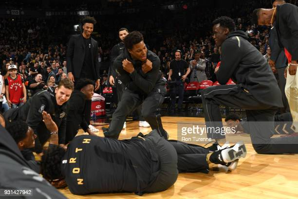 Kyle Lowry of the Toronto Raptors before the game against the Houston Rockets on March 9 2018 at the Air Canada Centre in Toronto Ontario Canada NOTE...
