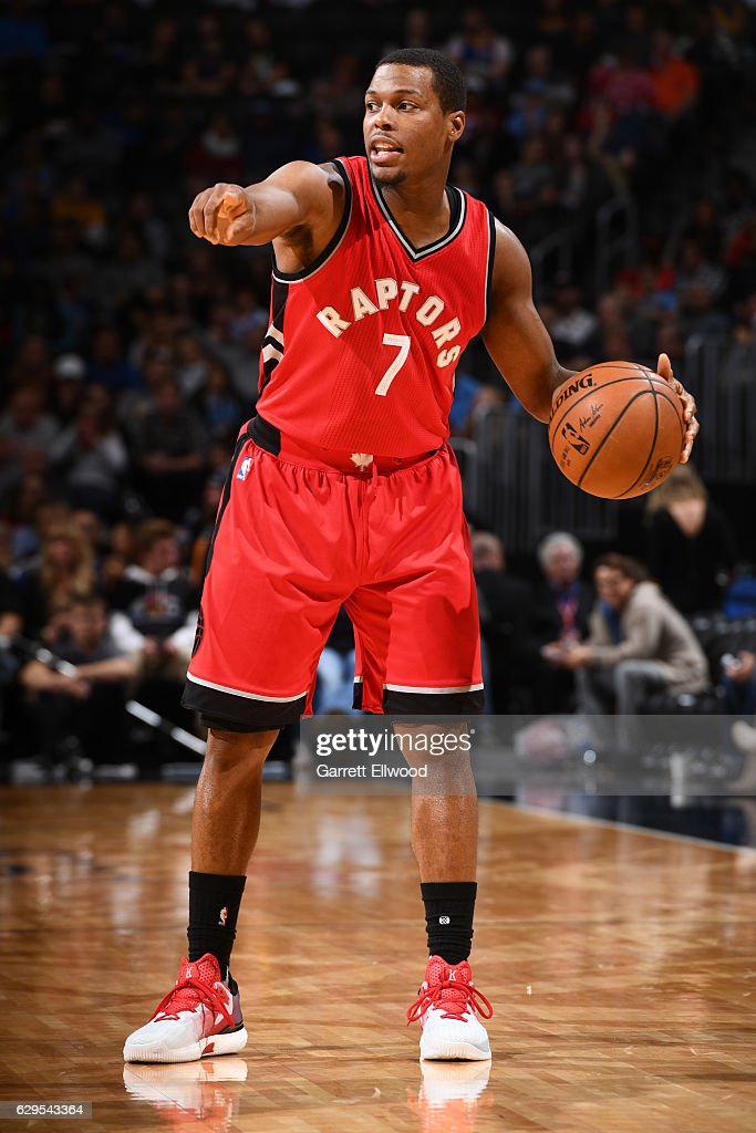 Kyle Lowry #7 of the Toronto Raptors calls a play during a game against the Denver Nuggets on November 18, 2016 at the Pepsi Center in Denver, Colorado.