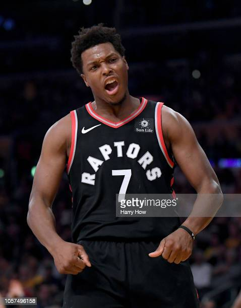 Kyle Lowry of the Toronto Raptors celebrates his basket with a foul during the first half against the Los Angeles Lakers at Staples Center on...