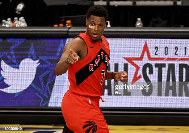 Kyle Lowry of the Toronto Raptors celebrates his three point shot in the fourth quarter against the Brooklyn Nets at Barclays Center on February 05,...