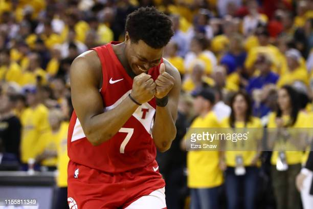 Kyle Lowry of the Toronto Raptors celebrates late in the game against the Golden State Warriors during Game Six of the 2019 NBA Finals at ORACLE...