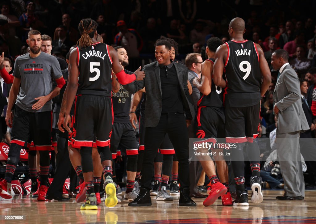 Kyle Lowry #7 of the Toronto Raptors celebrates with his team during the game against the New York Knicks on February 27, 2017 at Madison Square Garden in New York City.