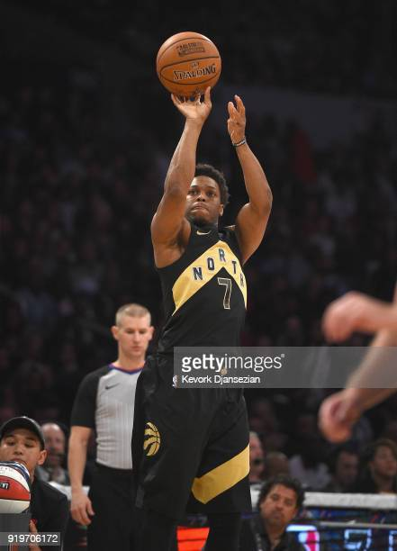 Kyle Lowry of the Toronto Raptors competes in the 2018 JBL ThreePoint Contest at Staples Center on February 17 2018 in Los Angeles California