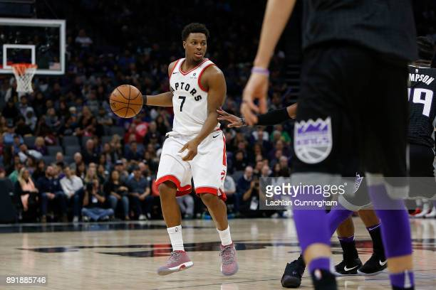 Kyle Lowry of the Toronto Raptors dribbles the ball against the Sacramento Kings at Golden 1 Center on December 10 2017 in Sacramento California NOTE...