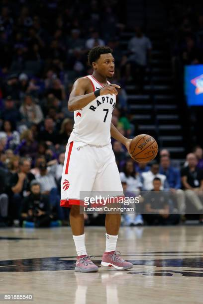 Kyle Lowry of the Toronto Raptors dribbles the ball up court against the Sacramento Kings at Golden 1 Center on December 10 2017 in Sacramento...