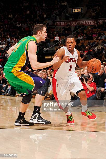 Kyle Lowry of the Toronto Raptors drives against Jason Smith of the New Orleans Hornets on February 10 2013 at the Air Canada Centre in Toronto...