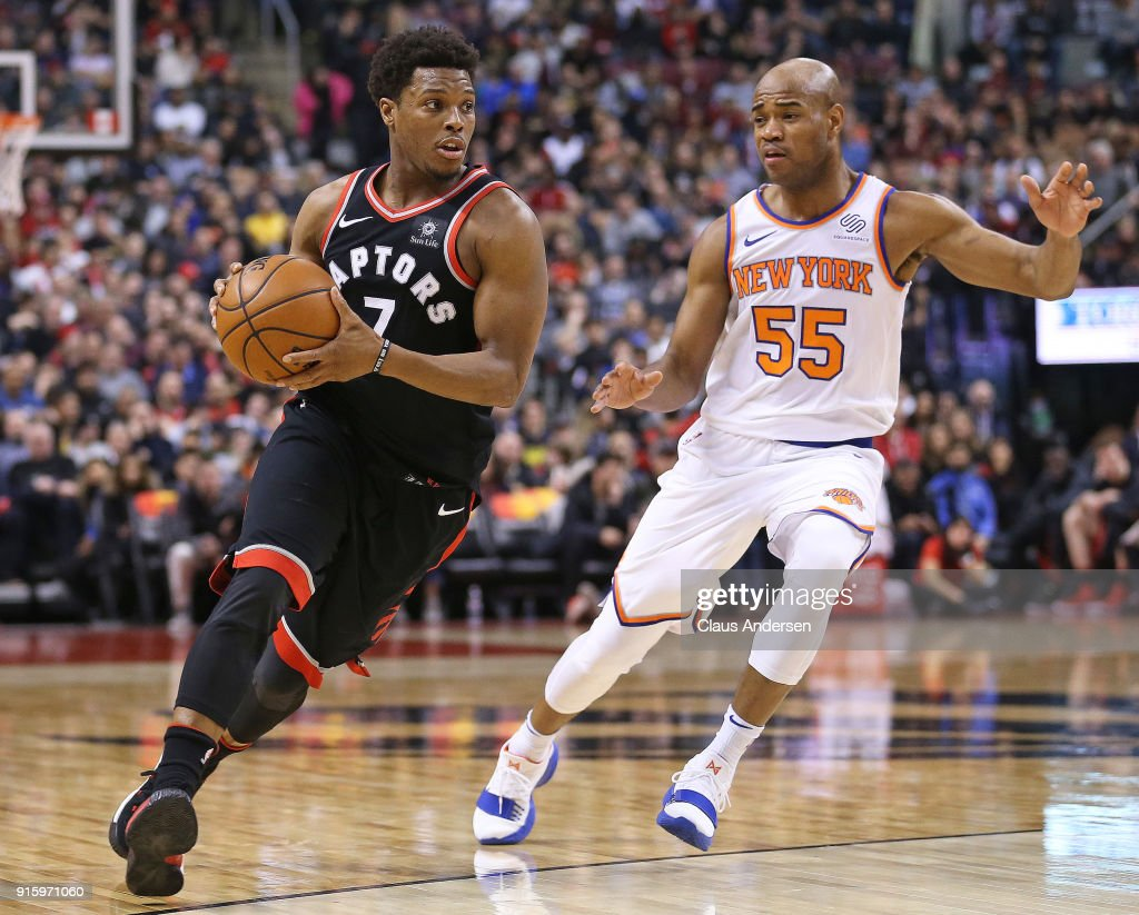 Kyle Lowry #7 of the Toronto Raptors drives the ball against Jarrett Jack #55 of the New York Knicks in an NBA game at the Air Canada Centre on February 8, 2018 in Toronto, Ontario, Canada. The Raptors defeated the Knicks 113-88.