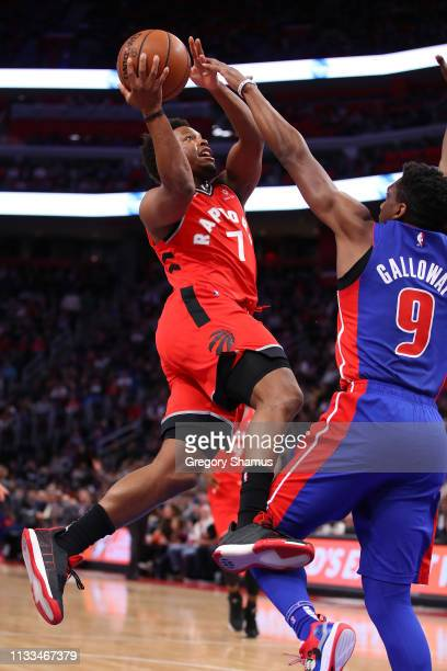 Kyle Lowry of the Toronto Raptors drives to the basket against Langston Galloway of the Detroit Pistons during the first half at Little Caesars Arena...
