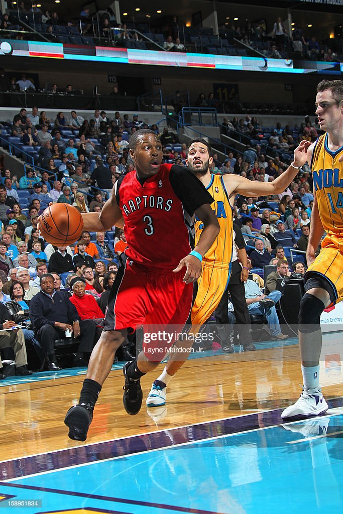Kyle Lowry #3 of the Toronto Raptors drives to the basket against the New Orleans Hornets on December 28, 2012 at the New Orleans Arena in New Orleans, Louisiana.