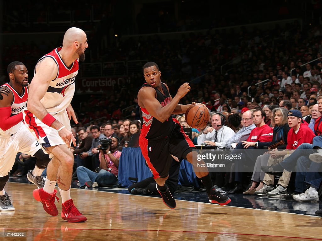 Kyle Lowry #7 of the Toronto Raptors drives to the basket against the Washington Wizards in Game Three of the Eastern Conference Quarterfinals during the 2015 NBA Playoffs on April 24, 2015 at Verizon Center in Washington, DC.