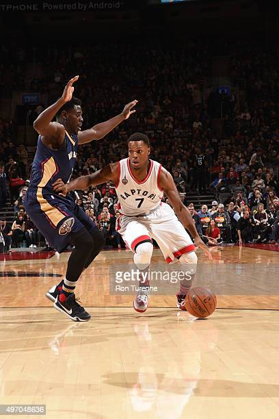 Kyle Lowry of the Toronto Raptors drives to the basket against the New Orleans Pelicans on November 13 2015 at the Air Canada Centre in Toronto...