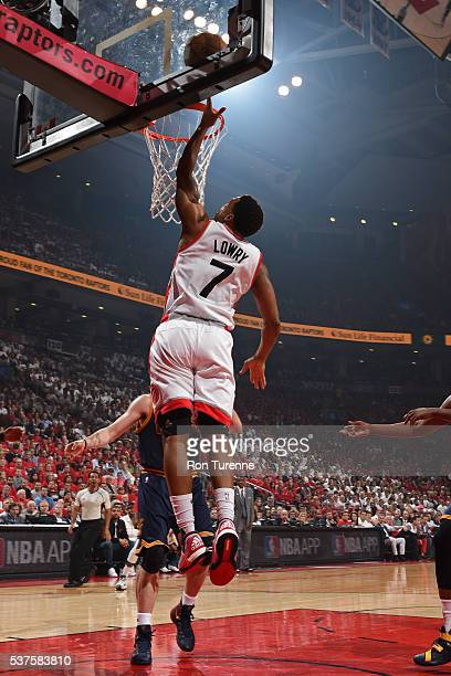Kyle Lowry of the Toronto Raptors drives to the basket against the Cleveland Cavaliers in Game Six of the NBA Eastern Conference Finals at Air Canada...